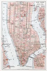 Panel Szklany Na drzwi Vintage map of South Manhattan - New York