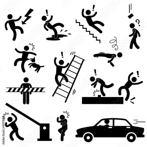 Plakaty BHP uwaga-niebezpieczenstwo-niebezpieczenstwo-wypadek-samochodowy-sliski-upadek