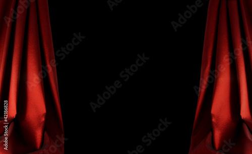Fotobehang Stof red curtain background on dark