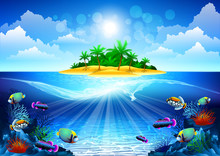 Tropical Island In The Ocean With A Coral Reef
