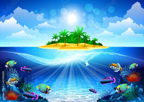 Obraz tropikalna wyspa na oceanie z rafą koralową - fototapety do salonu