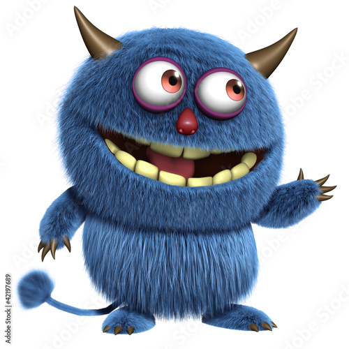 Poster Sweet Monsters blue furry alien