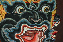 Monkey Face Mural In Buddhist Temple, Thailand