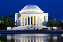 The Jefferson National Memorial At Dusk In Washington DC, USA