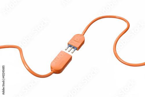 Fotografia Conectando dos cables en fondo blanco.