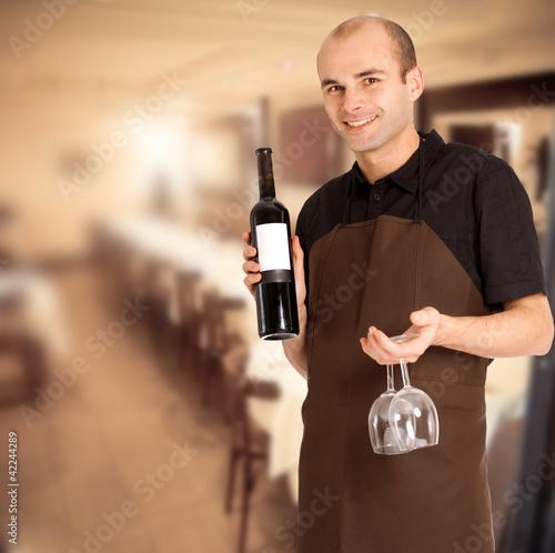 Male restaurant sommelier
