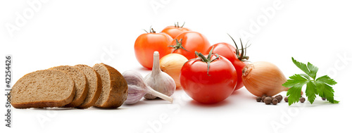 Poster Légumes frais Vegetables with bread on white