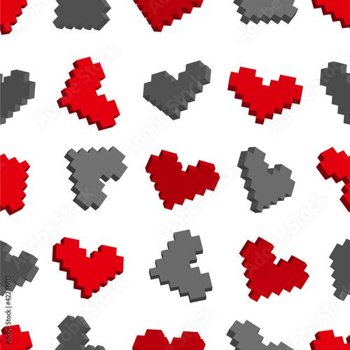 Cadres-photo bureau Pixel Pixel hearts seamless background pattern. Vector illustration.
