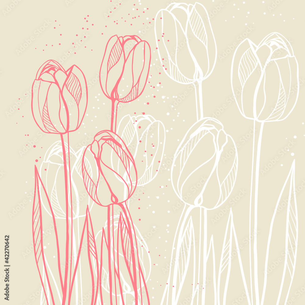Fototapety, obrazy: Abstract floral illustration with tulips on beige background.