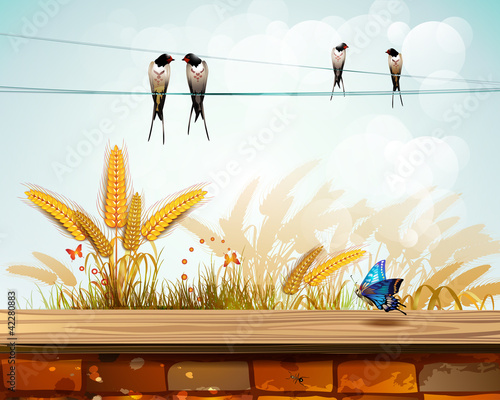 Wall Murals Birds, bees Landscape with brick wall and wheat