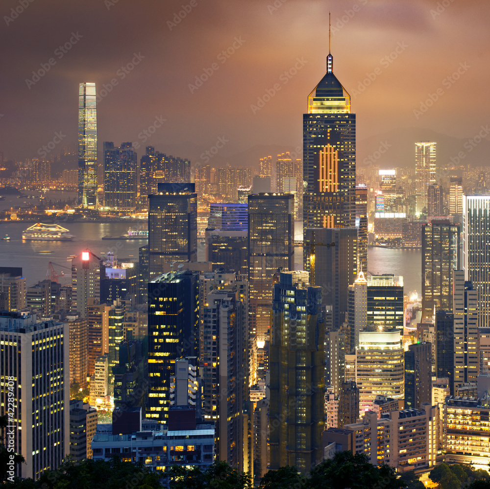 Night view to HongKong and Kowloon Plakát
