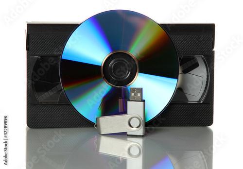 Fototapeta videotape with dvd and usb stick