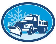 Snow Plow Truck Retro