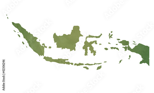 Fotomural Old green map of Indonesia