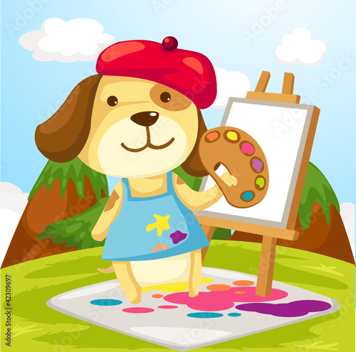 Chiens Artist dog painting