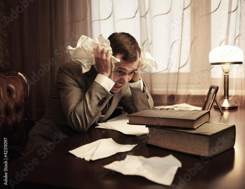 Businessman in panic Canvas-taulu