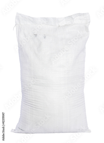 Papel de parede White canvas sack with full fertilizer isolated on white backgro