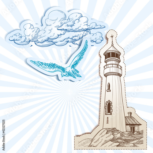 Lighthouse and sky background © Danussa