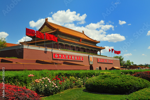Tuinposter Beijing China's flag construction Tiananmen Gate