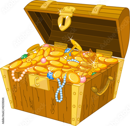 Printed kitchen splashbacks Fairytale World Treasure chest