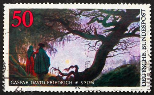 Leinwand Poster Postage stamp Germany 1974 Painting by Caspar David Friedrich