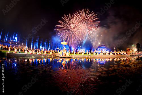 Fotografie, Obraz  Firework showing in Sukhothai historical park,Thailand.