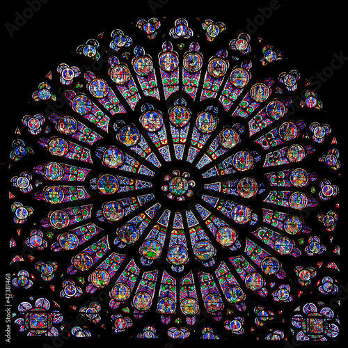Aluminium Prints Stained Rose window of Notre Dame Cathedral