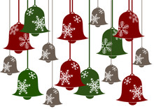 Red And Green Christmas Bells With Snowflakes