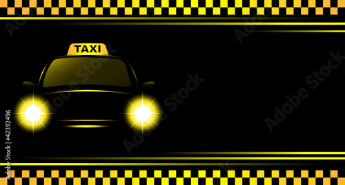 background with taxi sign and cab Fototapet