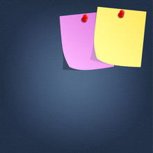 Sticky Note And Red Push Pin O...
