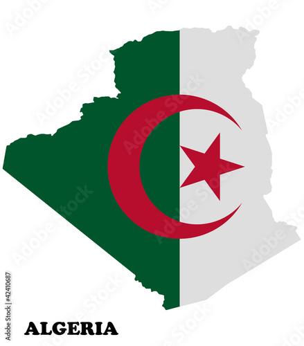 Poster Algérie Map of Algeria with flag
