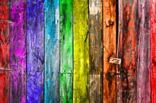 Porte En Bois Multicolore