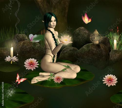 La pose en embrasure Fées, elfes Water lily nymph