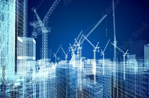 Fotografía  construction site blueprint