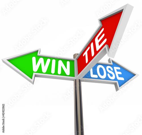 Fotografia, Obraz  Win Lose Tie Three Arrow Signs Competition Game