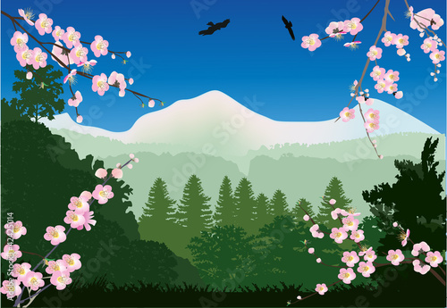 Poster Oiseaux, Abeilles cherry tree flowers and mountain landscape