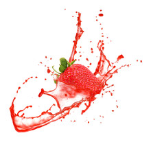 Strawberry In Splash, Isolated...
