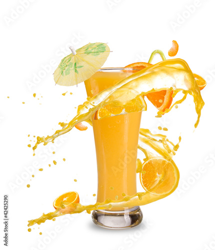 Poster Splashing water Orange cocktail with juice splash, isolated on white background
