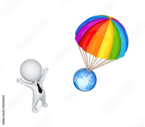 Poster Oiseaux, Abeilles 3d small person and colorful parachute.