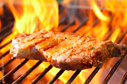 Fotografie, Obraz  steak on grill with flames
