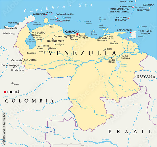 Türaufkleber Weltkarte Venezuela political map with capital Caracas, with national borders, most important cities, rivers and lakes. Illustration with English labeling and scaling. Vector.