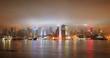 Urban city skyline at night