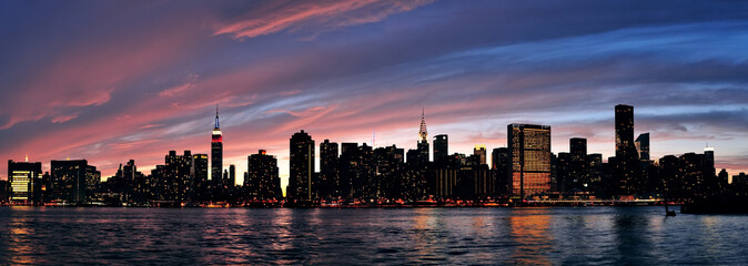 Obraz na Plexi Miasta New York City Manhattan sunset panorama