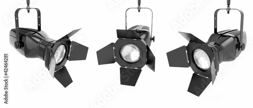 Staande foto Licht, schaduw Spotlight or stage light on white isolated background