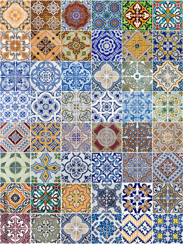Fotografía  Set of 48 ceramic tiles patterns