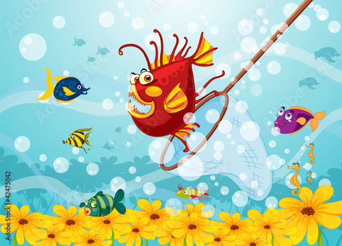Poster de jardin Sous-marin monster fish in water