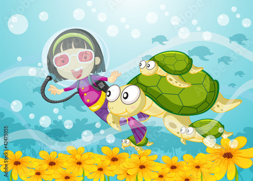 Aluminium Prints Submarine tortoise and girl in water