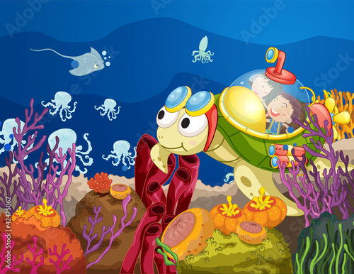 Wall Murals Submarine tortoise carrying kids