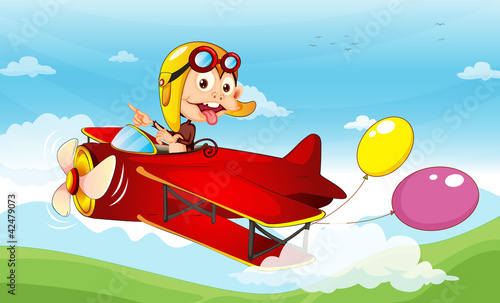 Autocollant pour porte Avion, ballon Monkey in a plane