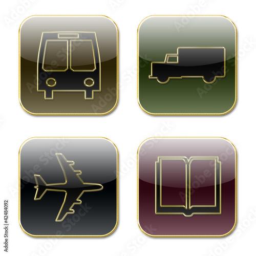 Iconos varios formas transportes